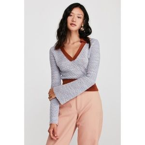 Free People Round About V Neck Sweater